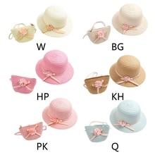Hat Straw Beach-Hat Sun-Visor Uv-Protection Baby-Girls Summer with Bow Zipper-Shoulder-Bag
