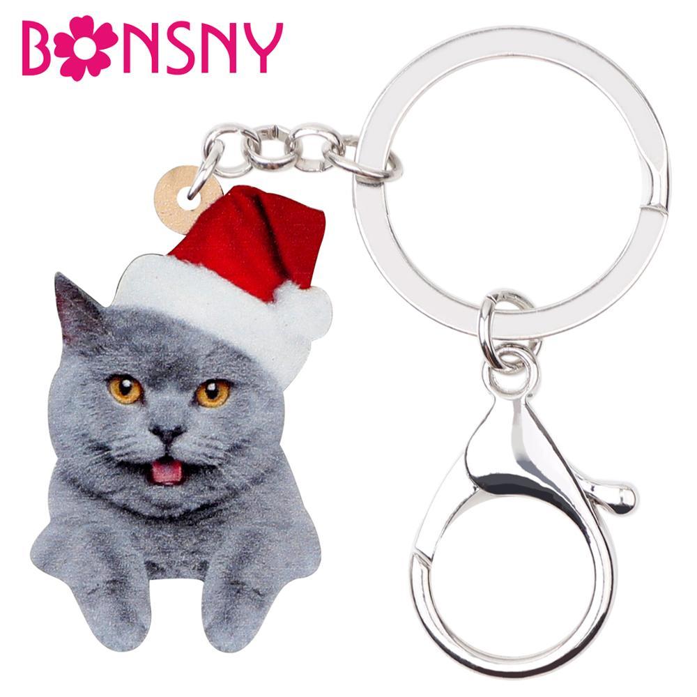 Bonsny Acrylic Christmas Grey Cat Kitten Key Chains Key Ring Car Bag Purse Pets Jewelry For Women Girl 2019 Hot Sales Charm Gift