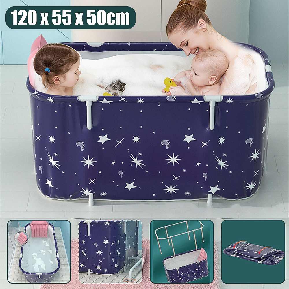 120cm Bathtub Adult Bath Tub Barrel Sweat Steaming Plastic Thicken Portable Bathtub Home Sauna Insulation Folding Bath Bucket