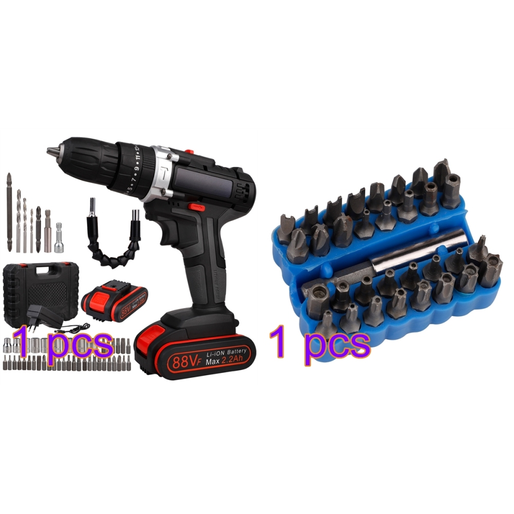 Electric Drill  Li-ion Rechargeable Battery 2 Speed Adjustment Brushless Cordless with Drillls Bits Sets Tools for Hole Punching