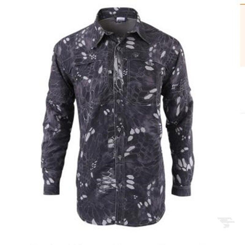 Мужская быстросохнущая рубашка на открытом воздухе Съемная с длинным/коротким рукавом дышащая походная Военная Маскировочная рубашка Спортивная одежда - Цвет: black Camouflage