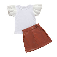 Summer Cute Toddler Kid Girls 2Pcs Outfits Ruffle Sleeve Solid Shirt Top + Leather Skirt Clothes Set girls geometric print top with solid skirt