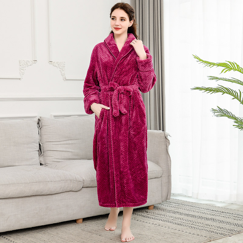 Image 3 - Winter Coral Velvet Bathrobe Women Pajamas Womens Nightgowns Flannel Warm Robe Sleepwear Womens Robes Coral Velvet  ouc304-in Robes from Underwear & Sleepwears