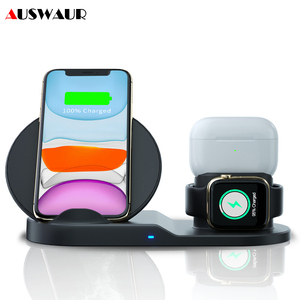 Image 1 - 3 ב 1 צ י אלחוטי מטען עבור iPhone 11 פרו מקס אפל שעון iWatch 1 2 3 4 5 Airpods פרו 10W מהיר Wirelss מטען