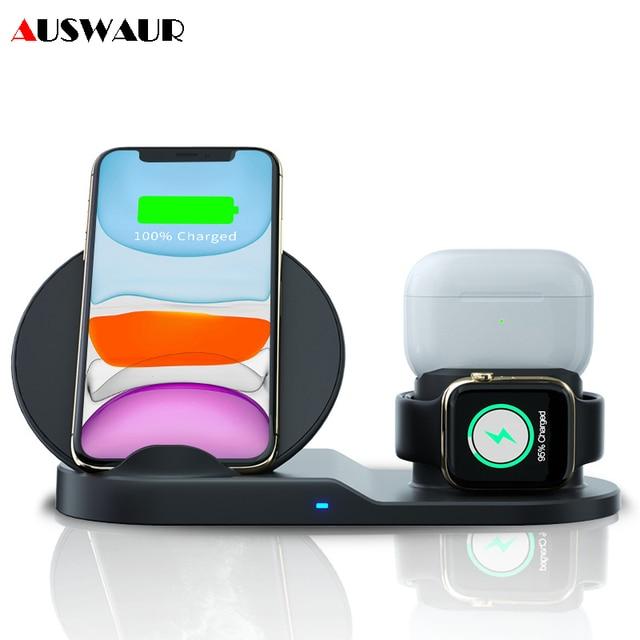 3 IN 1 QI kablosuz şarj cihazı iPhone 11 PRO Max Apple Watch iWatch 1 2 3 4 5 Airpods pro 10W hızlı kablosuz şarj cihazı
