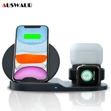 Беспроводное зарядное устройство QI 3 в 1 для iPhone 11 PRO Max, Apple Watch iWatch 1 2 3 4 5 Airpods Pro, быстрое зарядное устройство 10 Вт