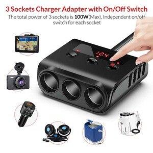 Image 2 - Sigarettenaansteker Splitter 4 USB Charger Adapter 3.6A 100W LED Voltage Detectie met Schakelaar Voor Mobiele Telefoon MP3 DVR