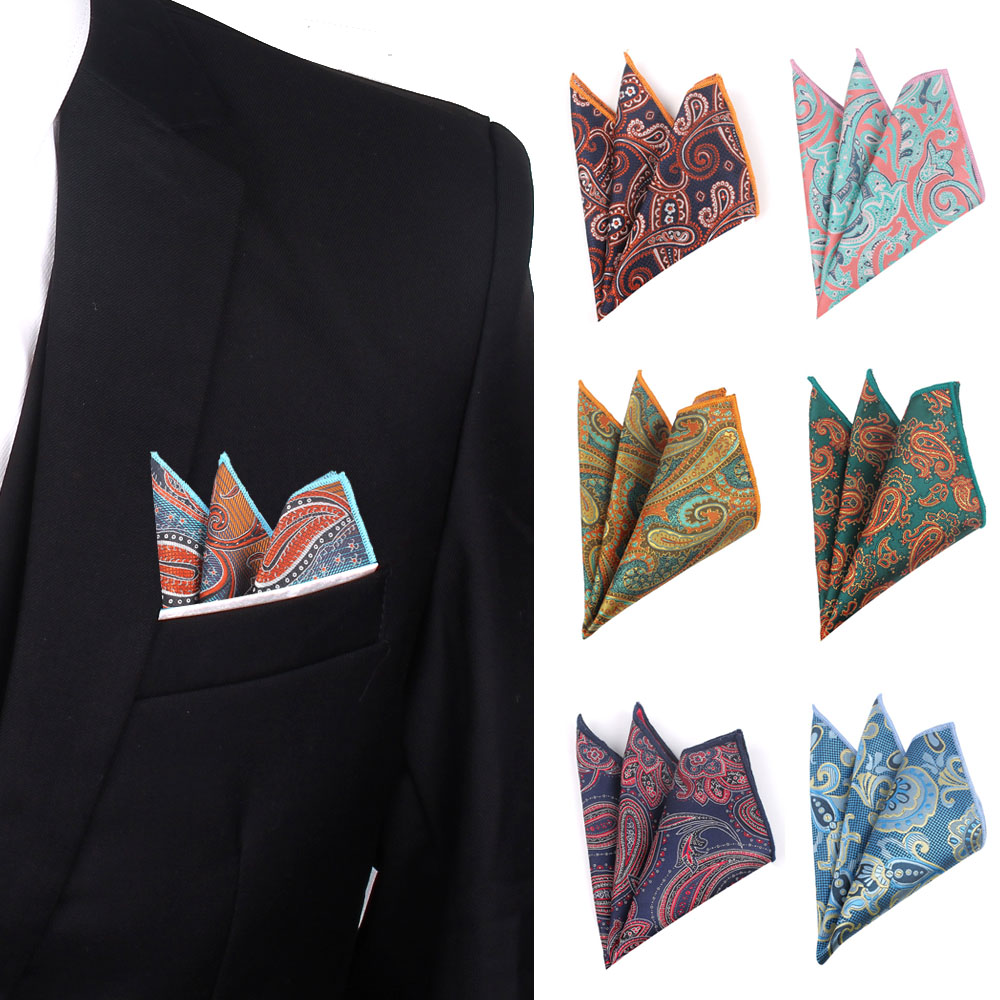 Paisley Handkerchief Polyester Woven Mens Hanky Casual Pocket Square For Men Women Chest Towel For Business Wedding Hankies
