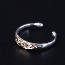 925 Sterling Silver Old Silver Craftsman Handcrafted Trendy Simple Lotus Opening Adjustable Ring And Ring Lady's Accessories 925 sterling silver thai handcrafted individual trendy leaf frosted fine bracelet creative feather lady s ring accessories