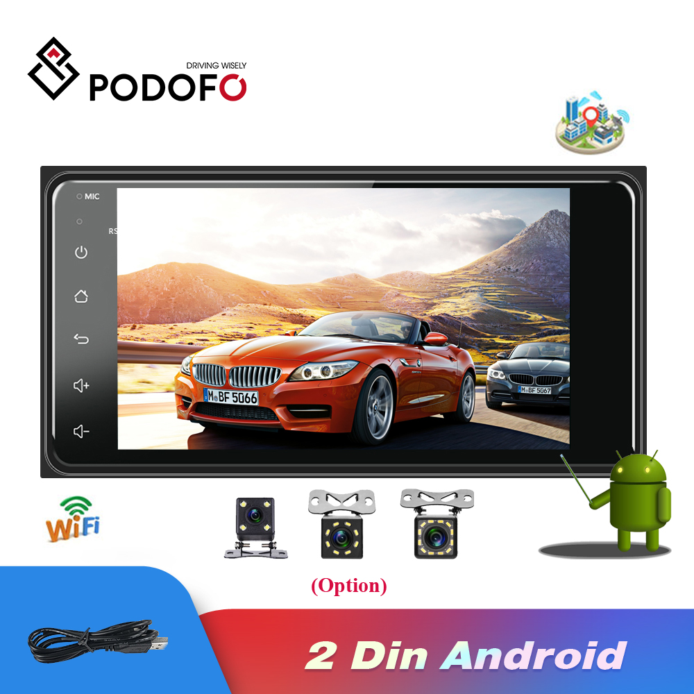 Podofo Android 2din Car Multimedia Player Universal auto Stereo GPS/Wifi/FM/Mirrorlink/USB/Bluetooth 2.5D Touch Screen Car Radio image