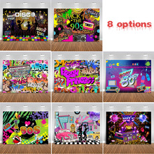80s 90s Party Photography Backdrop Hip Hop Disco Theme Retro Style Photo Background Adult Birthday Banner Neon Photobooth Props