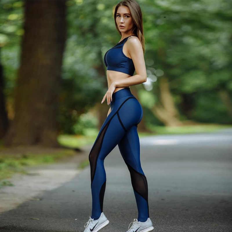 CHRLEISURE Mesh patchworkowe legginsy damskie legginsy damskie spodnie elastyczne legginsy damskie fitness czarne legginsy fitness Workout
