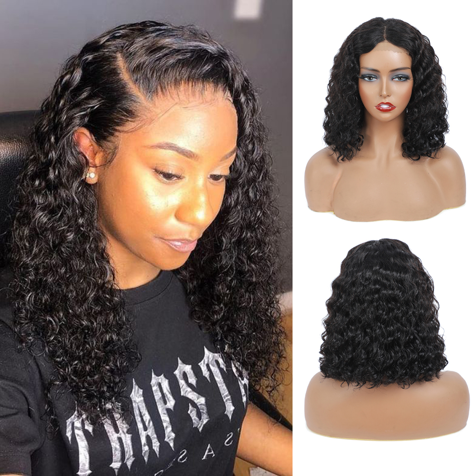 lace front human hair wigs for Black Women deep wave curly hd frontal bob wig brazilian afro short  water wig 4*4 2