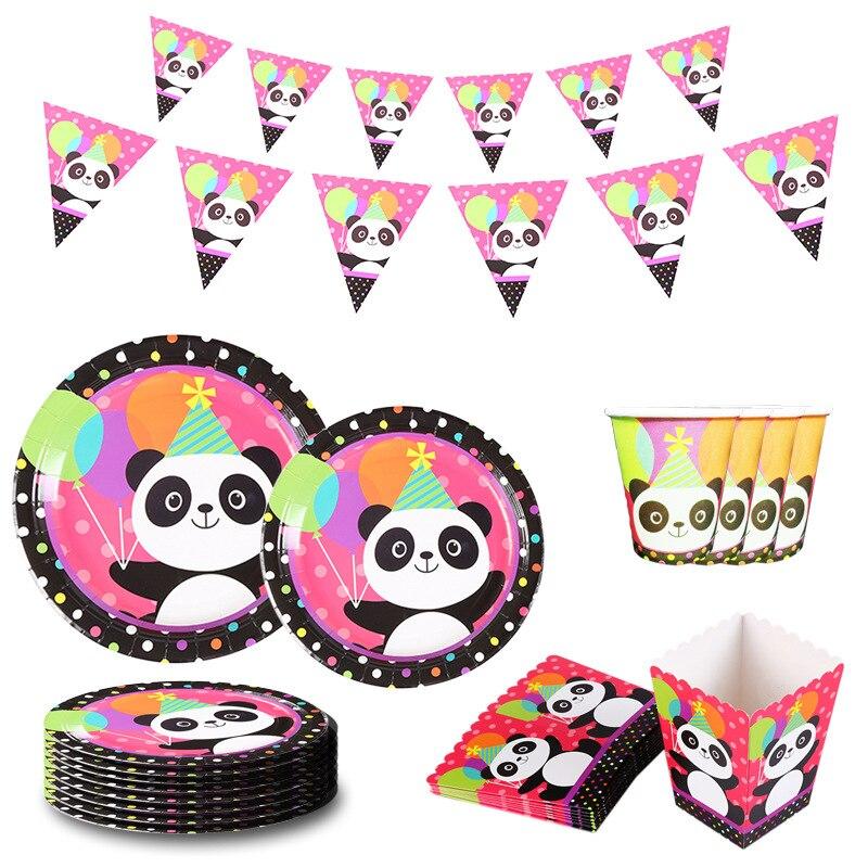 С милой пандой тема для детей с днем рождения декоративная бумага для вечеринок, китацский, пить самостоятельно стаканчик одноразовая посу...