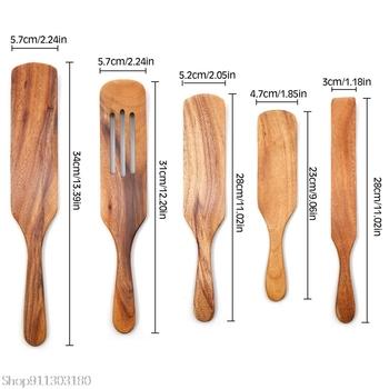 Naczynia do gotowania drewniane zestaw naczyń kuchennych zestawy kuchenne non-stick drewniane do żywności naczynia łopatka z rowkiem Spurtle łopatka zestawy tanie i dobre opinie CN (pochodzenie) Tokarstwo Drewna KTMXSGUYY8196
