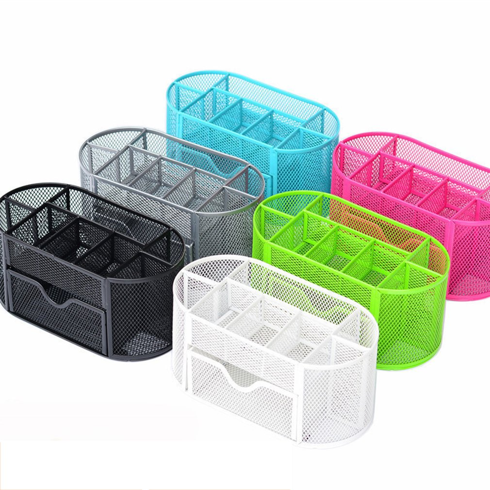 2019 New Multi functional Desk Organizer Mesh Metal Pen Holder Stationery Container Box Office School Supplies Caddy|  - title=