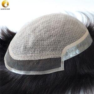 Image 3 - Injeção de renda homens toupee base seda superior em linha reta cor natural 100% liso remy indiano cabelo humano sistema substituição