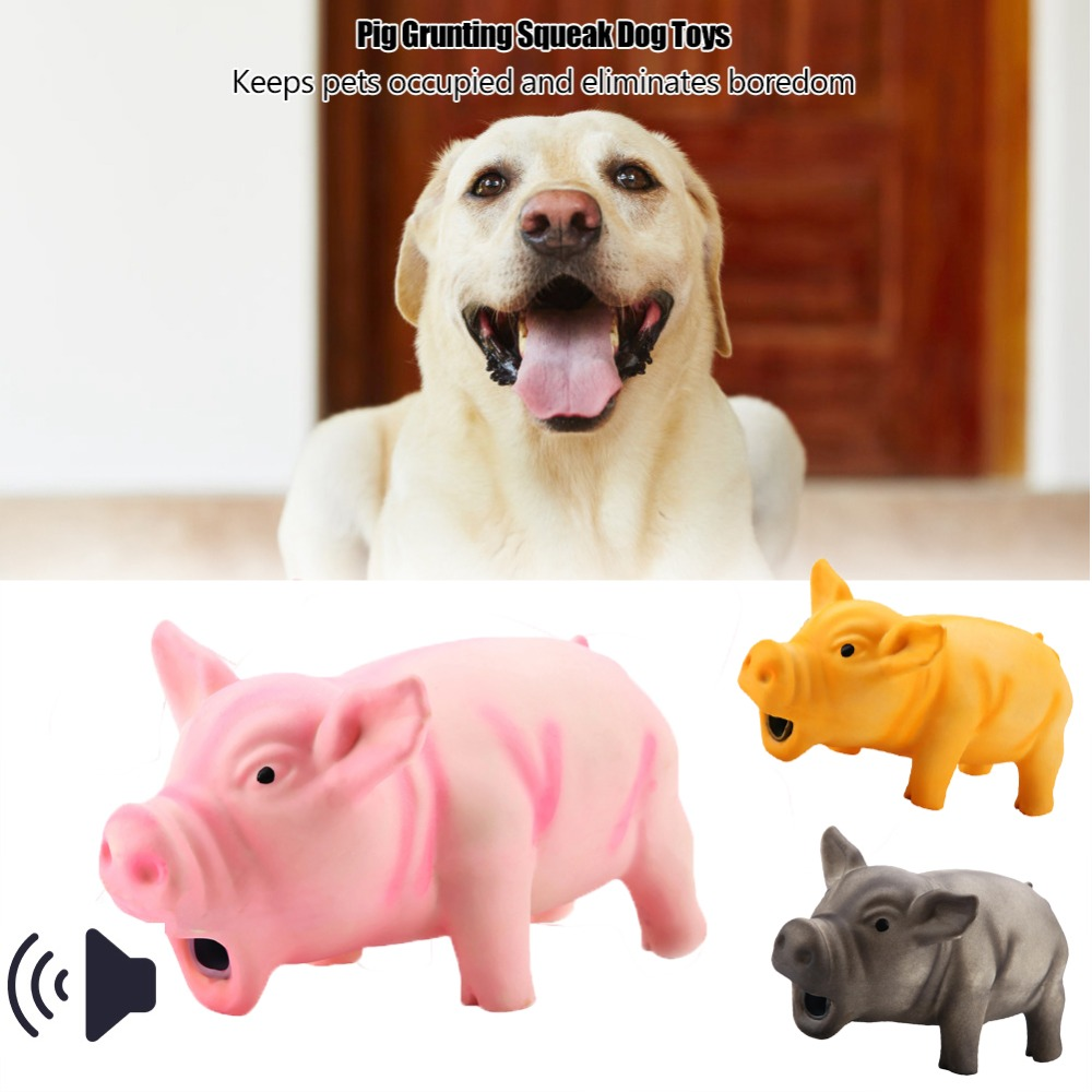 SUEF 1PCS Cute Latex Pig Grunting Toy Pet Chew Teeth Grinding Toys For Dog Training Black Yellow Pink Pets Dog Squeeze Sound Toy(China)