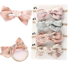 Nylon Headbands Bows Hair-Clips Baby-Girl Children Elastic Print