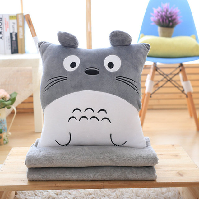 Hcdtoy 3 In 1 Multifunction Totoro Plush Throw Pillow with Blanket Hand Warm Cushion Soft Baby Kids Nap  Anime Figure Toy
