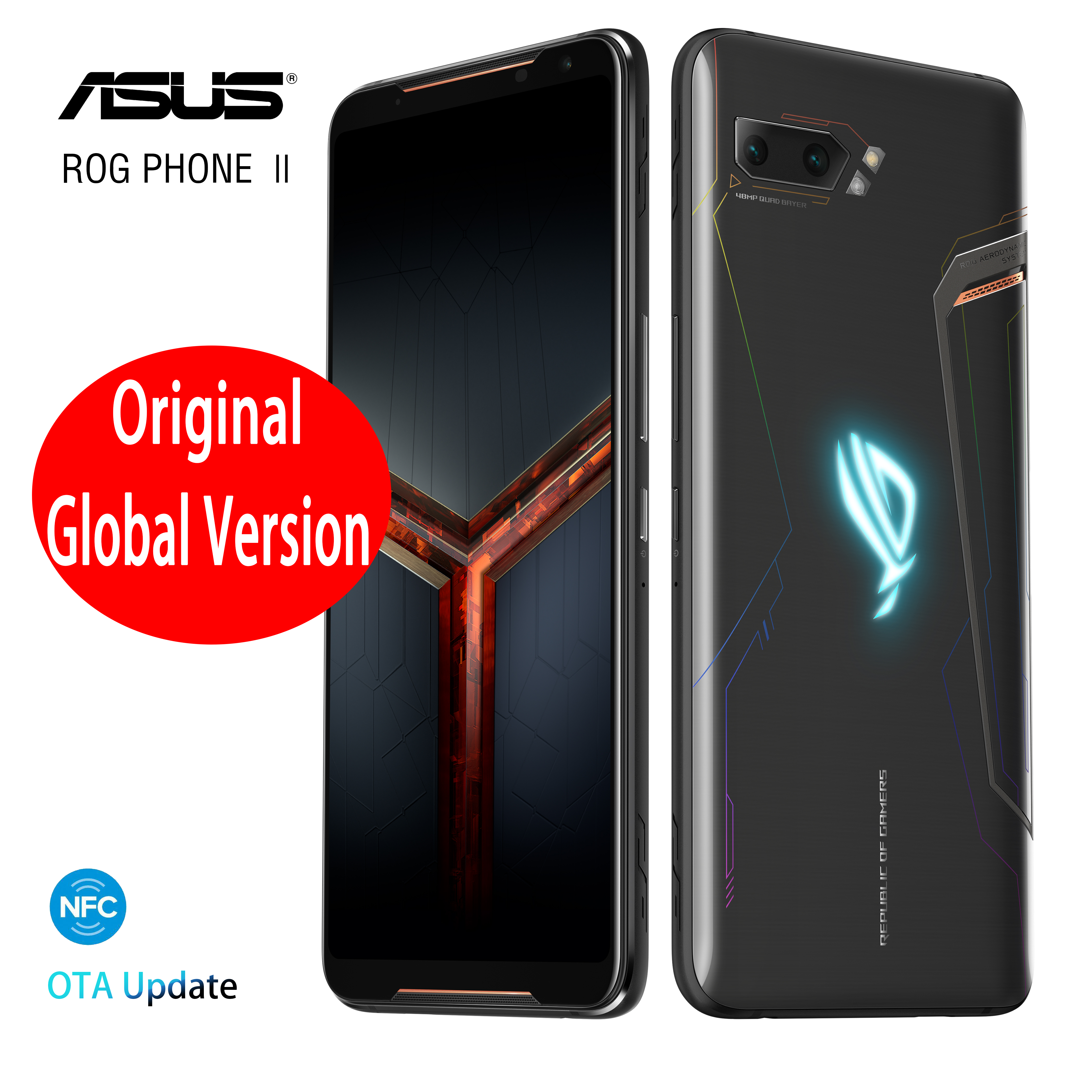Global Version ASUS ROG Phone 2 Gaming Phone 128GB ROM 8GB RAM ZS660KL OTA Update Snapdragon 855 Plus 6000mAh NFC Android9.0