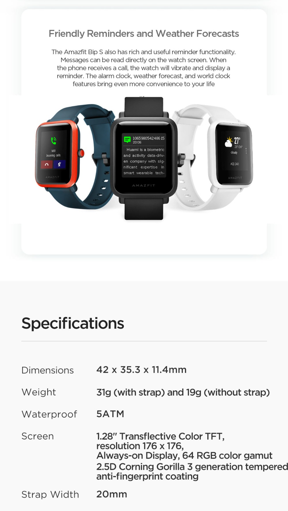 New 2020 Global Amazfit Bip S Smartwatch 5 ATM Waterproof Built-in GPS Smart Watch 40-day Battery Life Heart Rate Monitor (8)