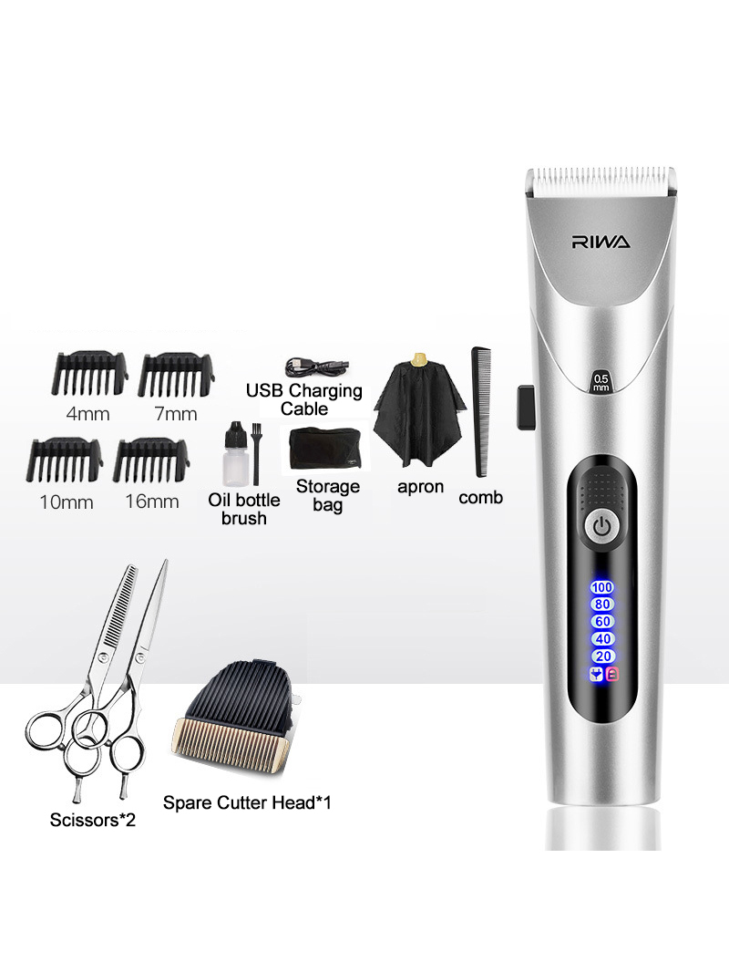 Hair-Clipper Head Electric-Trimmer Steel-Cutter Led-Screen Professional Xiaomi Riwa Strong-Power