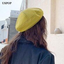 USPOP 2019 Women hat berets vintage PU leather beret  metal ring female solid color winter cap