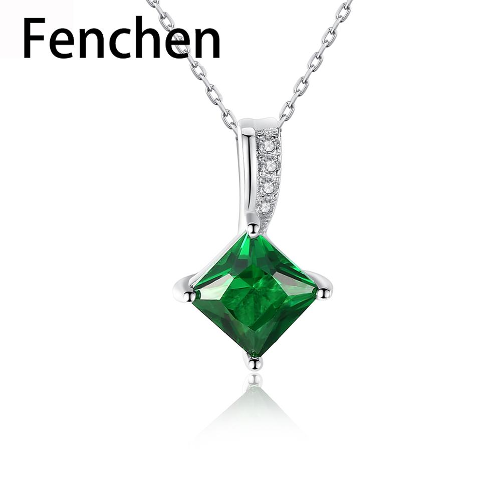 Fenchen vert émeraude pierres précieuses Bijoux fins 925 en argent Sterling pendentif colliers pour les femmes de mariage Bijoux de fiançailles cadeau AN067