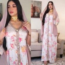 AB080 Dropshipping Elegant Plus Size Dress White Flower Abaya 2021 Woman European Female Jalabiya Arabic Clothes World Apparel