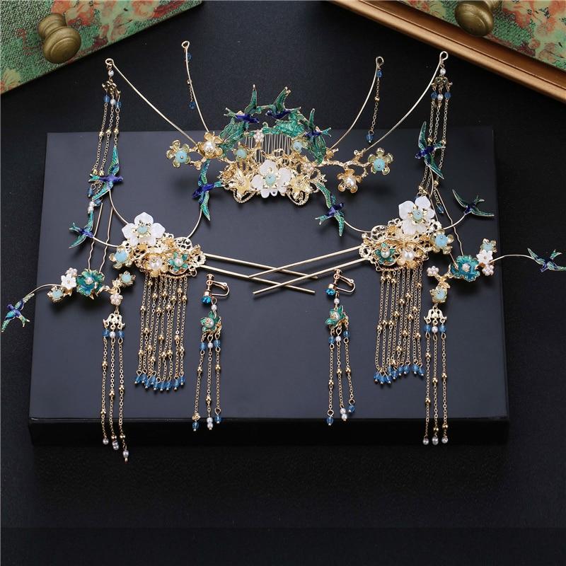 Bride Chinese Headdress Blue birds tiara Retro Style tassels Dragon and Phoenix Wear wedding hair decorations