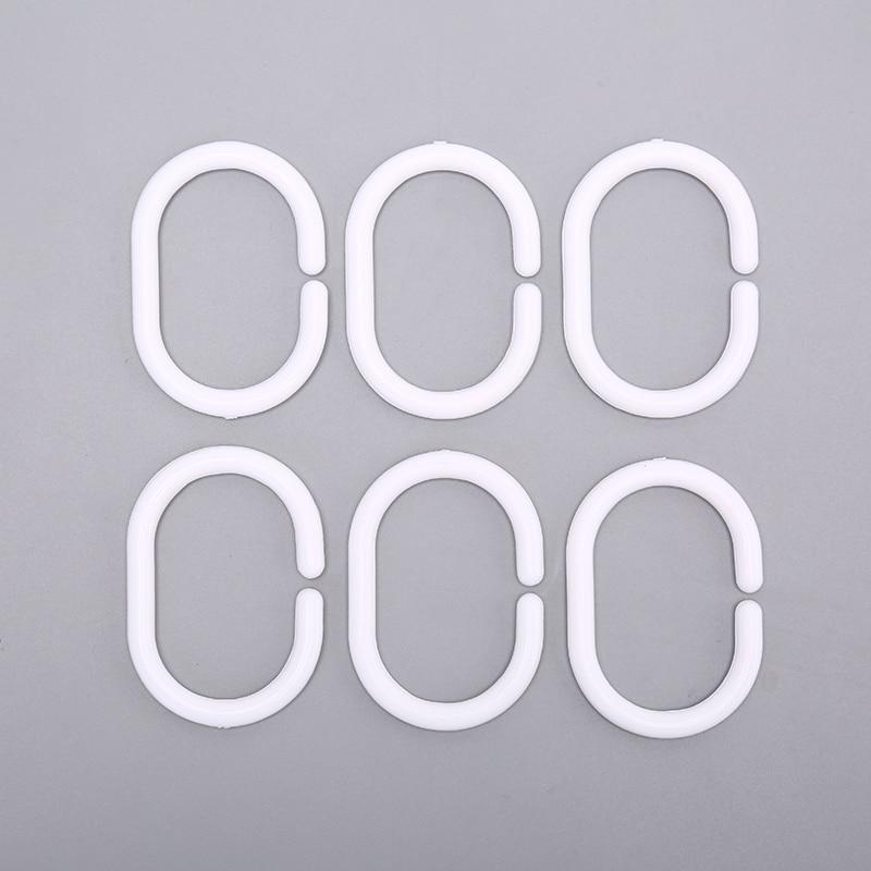 12PCS/lot White Transparent Plastic C Shape Bath Drape Shower Ring Loop Bendable Bathroom Curtain Hooks Wholesale