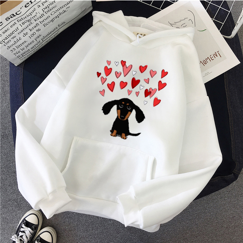Winter Autumn Women Clothing Harajuku Kawaii Dachshund Pug Terkel  Sweatshirt Animal Print Casual Long Sleeve Top Hoodies Women