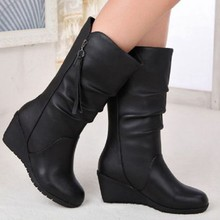Fashion New Hot Women Boots Autumn Winter Ladies Flat Bottom Boots Shoes mid-calf Black Suede Long Boots(China)