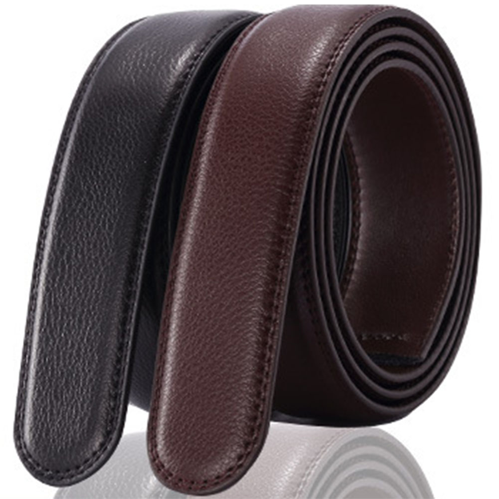 No Buckle 3.5cm Wide Men Leather Belt Without Buckle Belts Male Belts Automatic Buckle Strap for Men Luxury Cinto Masculino