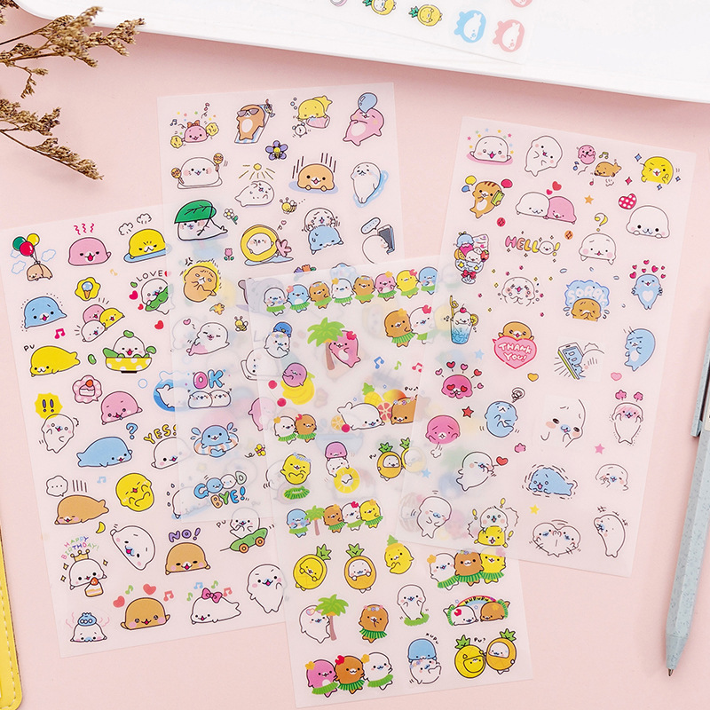 6Sheets DIY Kawaii PVC Cartoon  Stationery Stickers Scrapbooking For Decoration Photo Album Diary