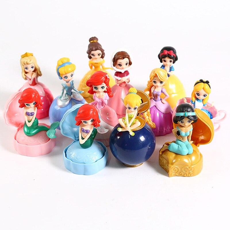 Image 5 - Princesa Brinquedo Bola Flor Fada Sereia Sino Cinderela Princesa Boneca PVC Action Figure toy Collectible Modelo Toy 12 pçs/setFiguras de ação   -