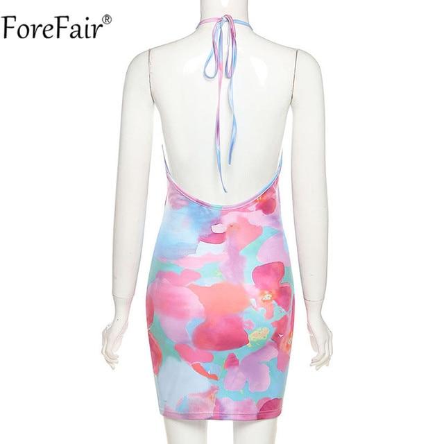 Forefair Tie Dye Backless Halter Neck Women Dress Bandage Sleeveless Off Shoulder Mini Beach Party Sexy Dresses 2021 Summer 4