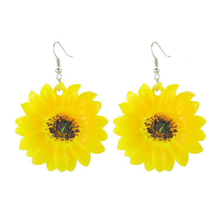 الأصفر عباد الشمس بتلات الأقراط الشاطئ صغيرة الطازجة ديزي زهرة الأذن الحلي الشمس زهرة أقراط الكورية أقراط