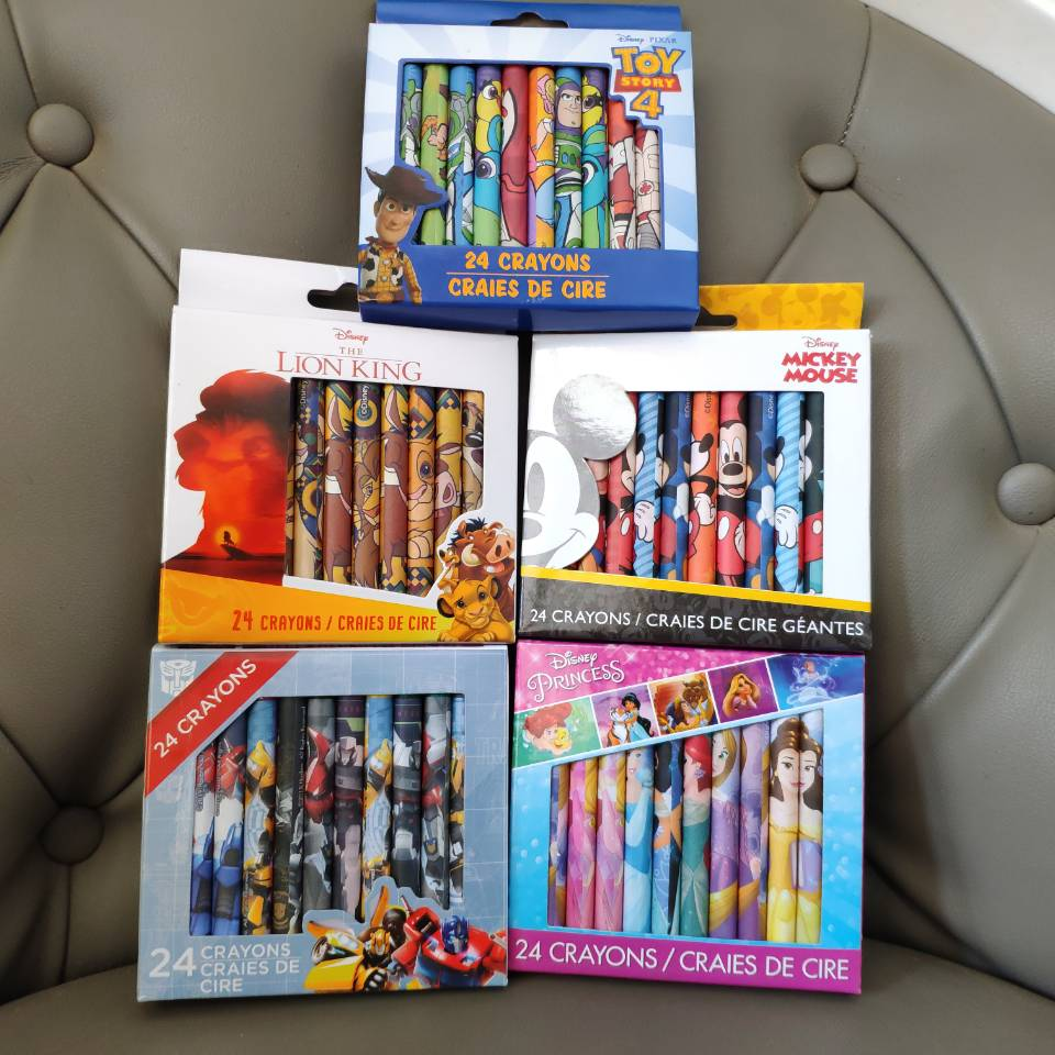24 KINDS OF COLOUR CRAYONS Intelligence Toys KIDS BABY Mickey Minnie Princess