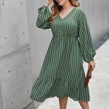 ROPALIA Women Dress Vintage Vestidos Lantern Lng Sleeve Maxi