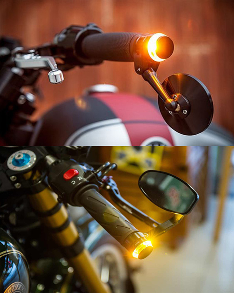 1Pcs 12V 6V Motorcycle Handlebar End LED Turn Signal Light Universal 22mm Indicator Flasher Warning Light Moto Accessories