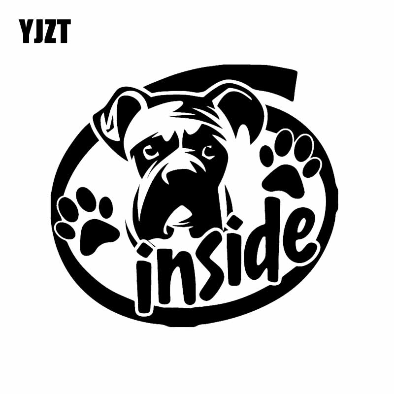 YJZT 15.8X14.5CM I Love My Boxer Vinyl Car Sticker Dog Car Truck Window Decal Black/Silver C24-1569