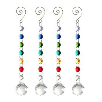 4 sztuk Rainbow Suncatcher Crystal Ball pryzmaty wisiorek szkło żyrandol artystyczny części mieszane kolor korale DIY dekoracje ślubne tanie i dobre opinie 110mm 220mm 30mm