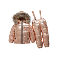 OLEKID Winter Kids Snowsuit Waterproof Warm Gold Down Jacket + Overalls Girl Ski Suit 1 6 Years Baby Silver Parka Coat Jumpsuit