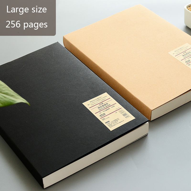 Kraft Notebook Thicken Sketchbook, B5 Large Size, Blank, 256 Pages, Quality Paper 100 GSM Art Supplies Graffiti&Pencil Drawing