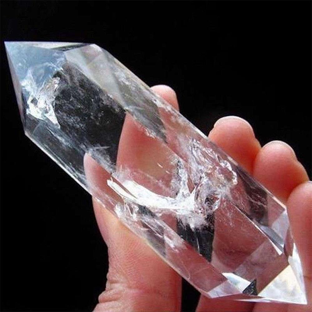 Cristal de fluorite branco natural 50-60mm 100% ponto de pedra de cristal de quartzo cura hexagonal varinha tratamento pedra # ew
