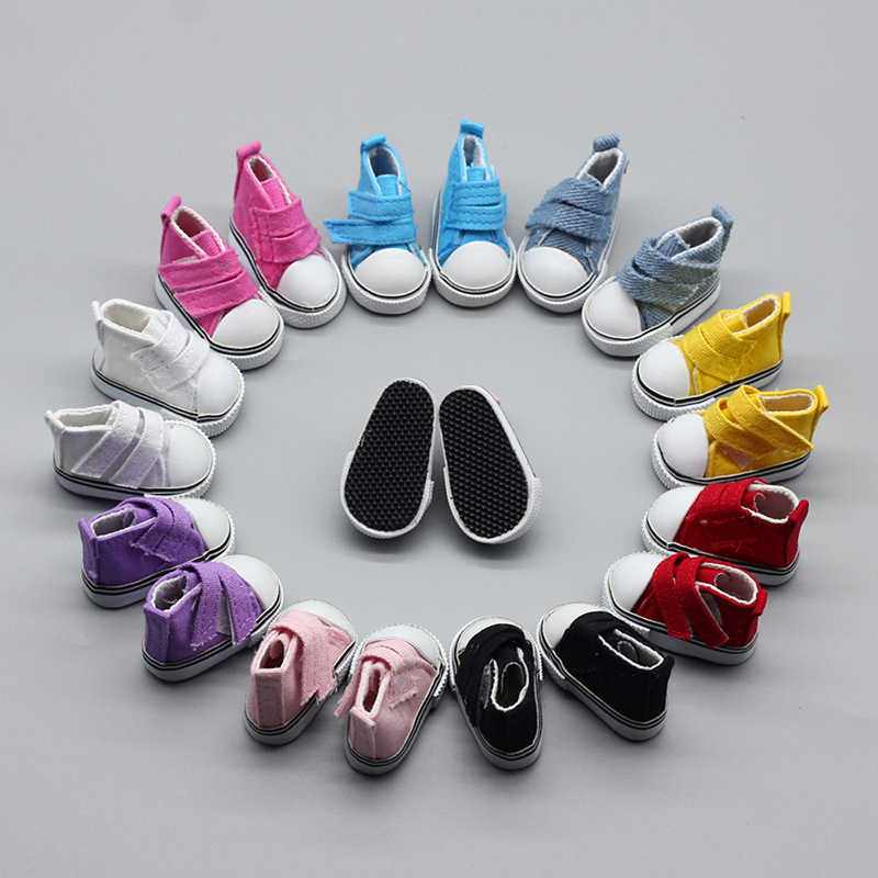 5cm/Doll Shoes Denim Sneakers For Dolls Fashion Denim Canvas Mini Toy Velcro Shoes 1/6 For Handmade Doll  DIY pendant