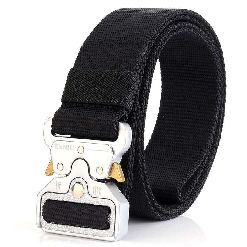 Fashion Tactical Men Belt True Nylon Belt For Jeans Pants Canvas Army Style Belt Metal Buckle Designer Waist Belt Hunting Gift