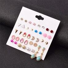 Luokey vintage moda lua pérola brincos para as mulheres elegante bonito gota de água pedra boêmio brincos bijoux femme atacado